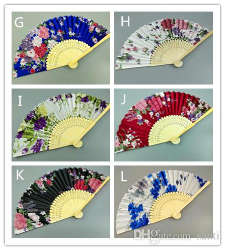 Colorful Chinese Bamboo Folding Hand Fan Flowers Floral Wedding Dance Party Decor