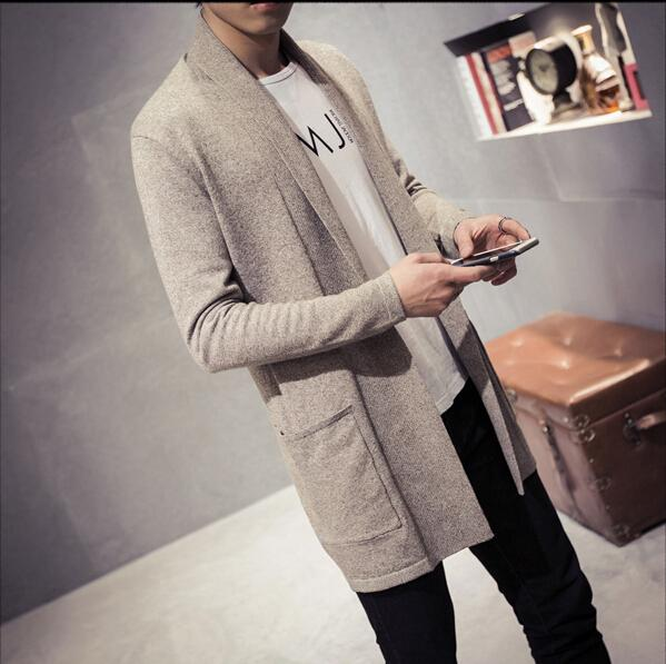 21fbd726441 Mens Sweater Spring New Slim Fit Cardigan Men Long Simple Turn Down ...