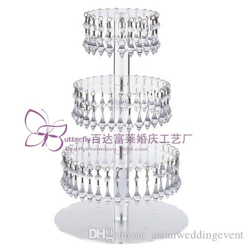 4 Tier Round Acrylic Glass Cupcake Tower Stand With Hanging Acrylic