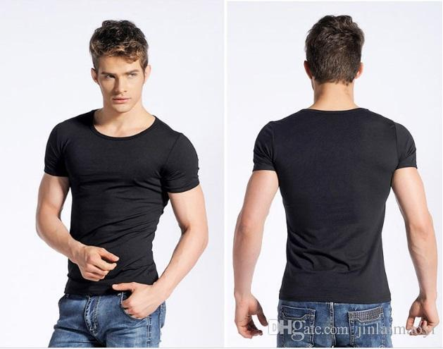 9d04205d12a Mens Slim Fit t-shirt Tee Men Stretch Cotton Short sleeve pullover Tide Man  O-Collar Casual T Shirts Summer fitness Basic tshirt Size M-XXXL