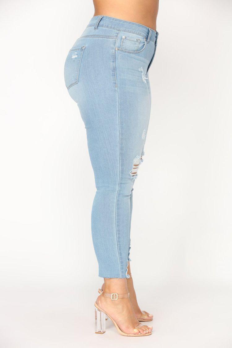 중간 허리 여성 데님 플러스 사이즈 고민 무릎 컷 닳은 앙 스키니 신축성 연필 바지 청바지 찢어진