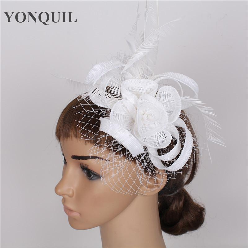 Party Feather Headwear With Veil Fascinator Occasion Hat Wedding Headpiece  Headmade Event DIY Hair Accessories Craft Mickey Birthday Hat Mickey Party  Hat ... f1023af6745