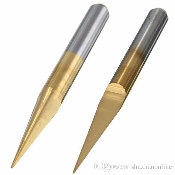 0.1mm 15 Degree Titanium Coated Carbide Flat Bottom PCB Engraving Bit CNC Router Tool
