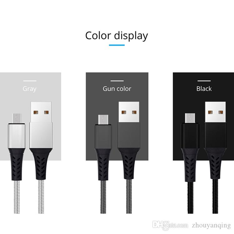 Nylon braided fast data cable charging line Micro USB Cable Cell Phone Data For smart phone for Android