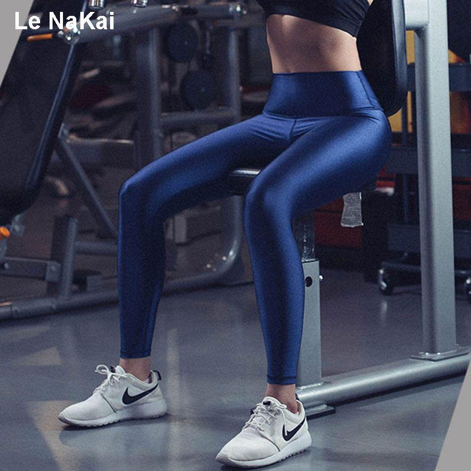 Fitness Leggings Material: 2019 Shiny Fabric Solid Women Yoga Pants Fitness Slim High