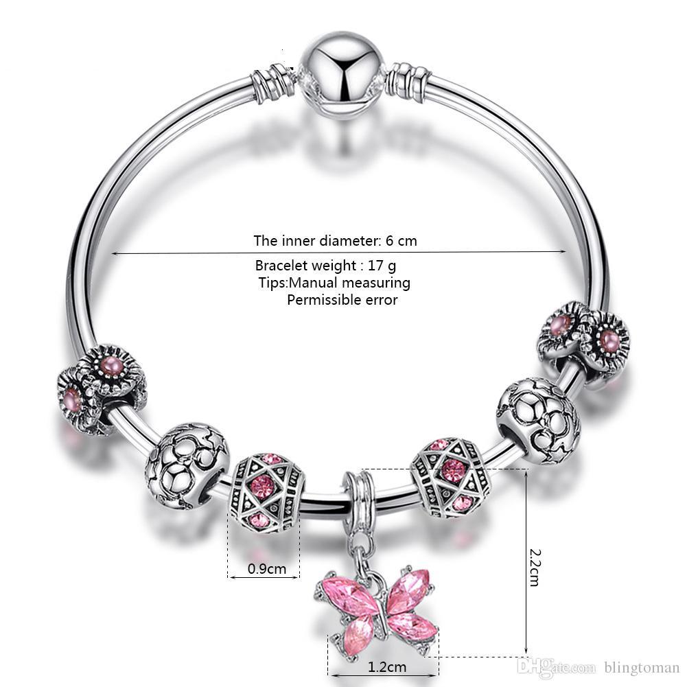 Pink Beaded 17 19CM Bracelet 925 Silver Pand Bracelets Women Ocean Heart Pendant Bracelet Purple Crystal Beads DIY Jewelry European Charm