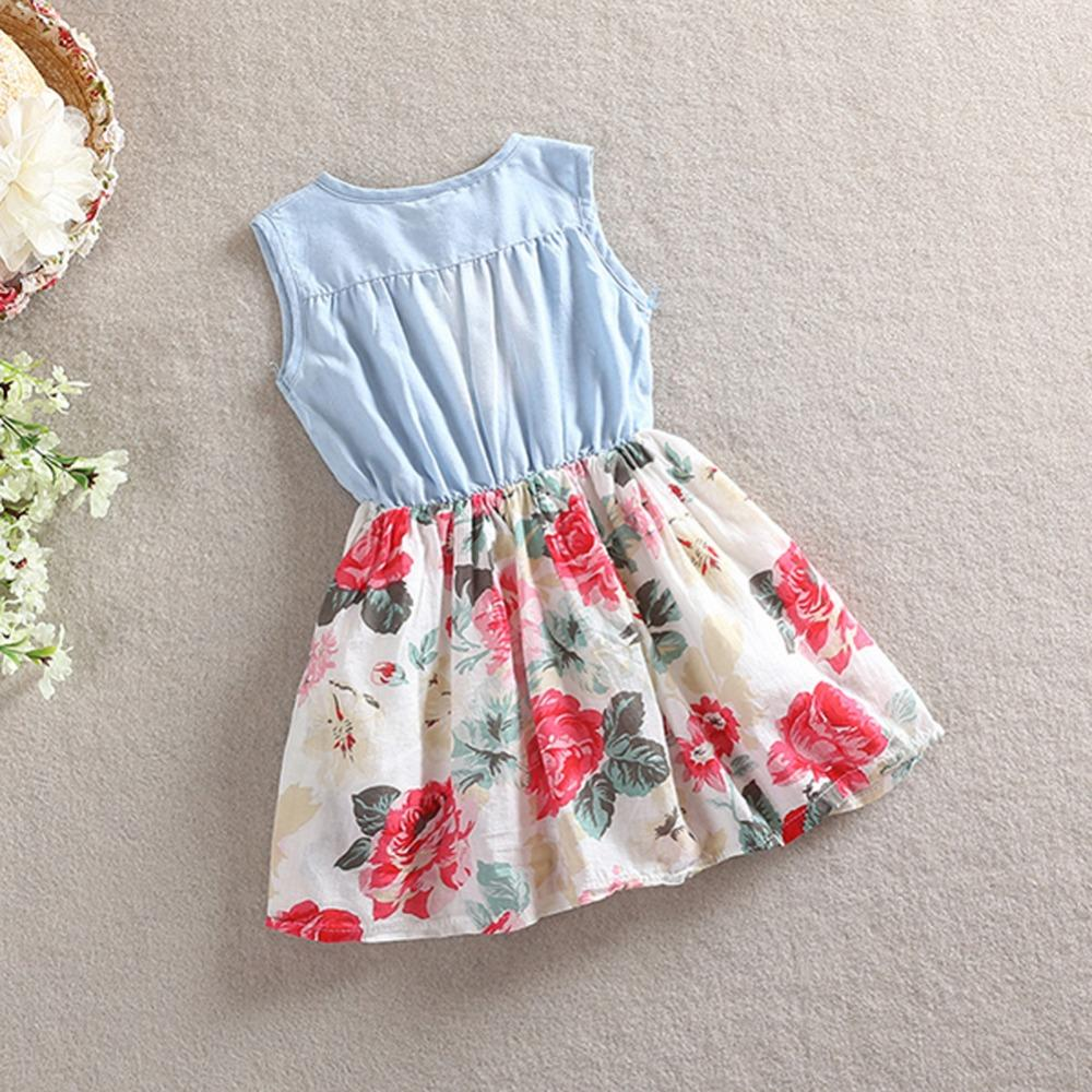 2017 Baby girl denim dress children sleeveless christmas girls dresses summer style kids princess flower dress Hot P3 H2