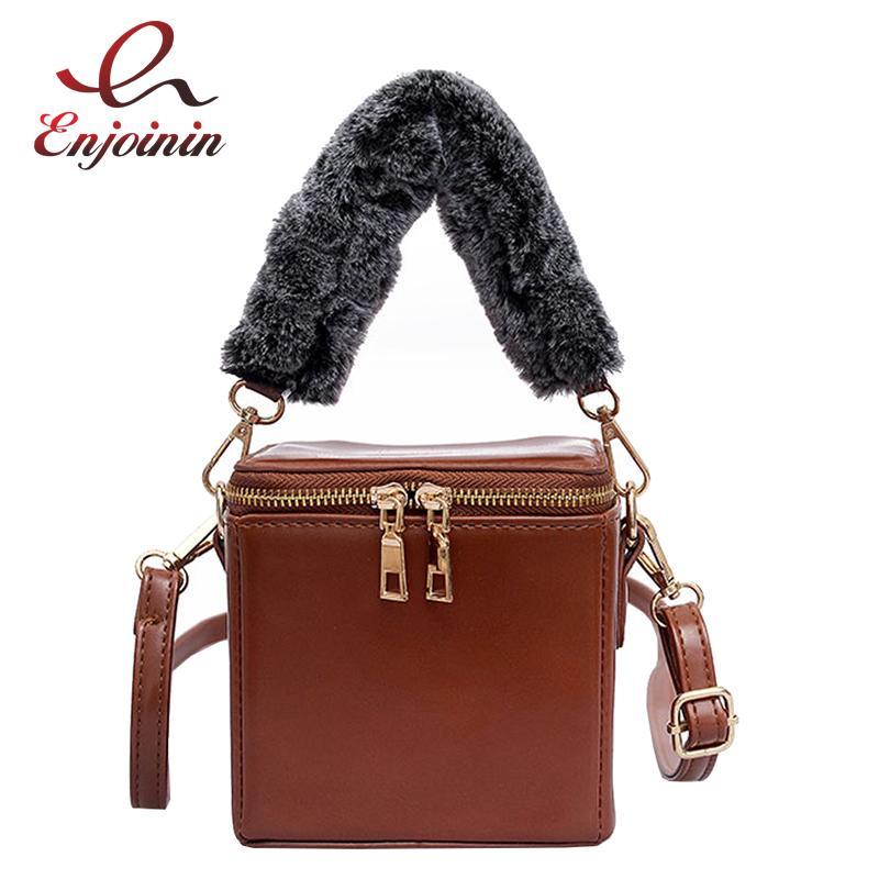 776a4629f849 Vintage Box Design Faux Fur Handle Fashion Casual Ladies Shoulder Bag Tote  Crossbody Mini Messenger Bag Handbag For Women Flap Women Bags Leather Bags  For ...