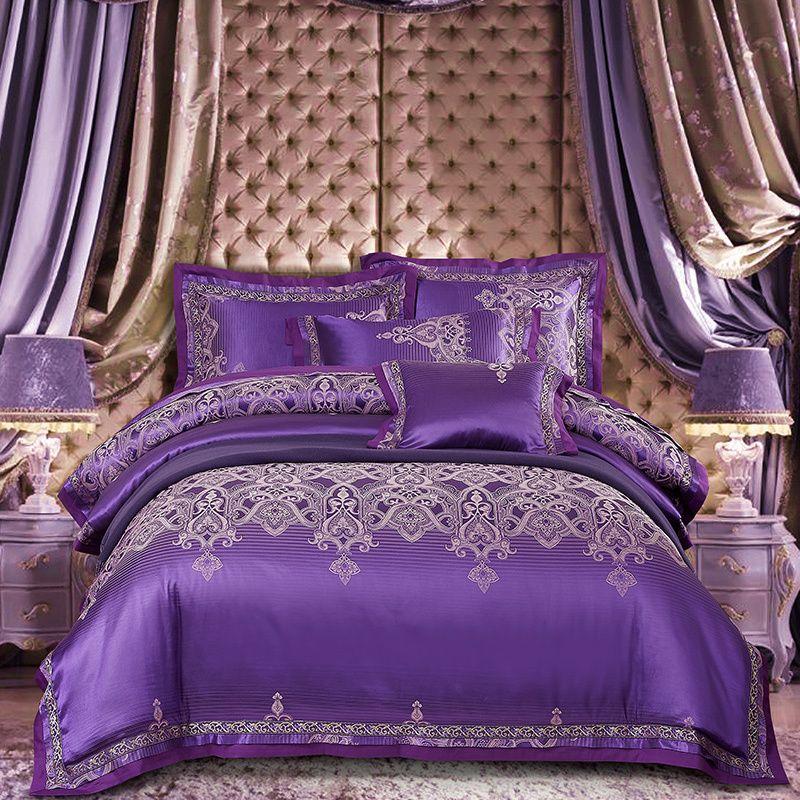 Acheter Purple Silver Satin Cotton Ensemble De Literie De Luxe Queen