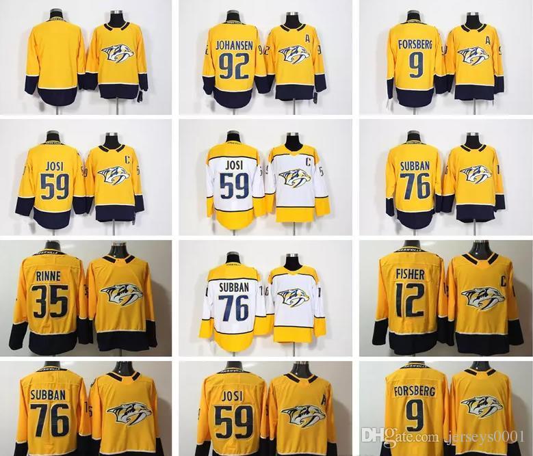 45cea643a 2017-2018 Men Nashville Predators 9 Filip Forsberg 12 Mike Fisher 35 Pekka  Rinne 59 Roman Josi 76 PK Subban 92 Ryan Johansen Hockey Jerseys Hockey  Jerseys ...