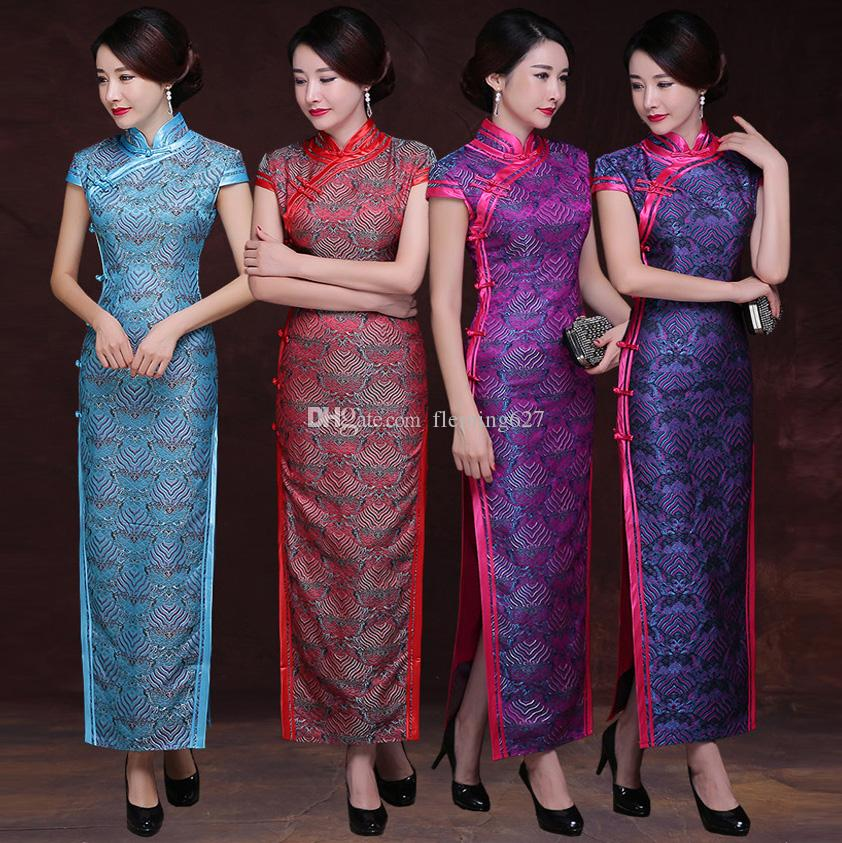 b46a582a1 2019 New Chinese Traditional Dress Retro Pattern Style Robe Long Wedding  Party Cheongsam Dresses Vintage Qipao Women Oriental Gown From Fleming627,  ...