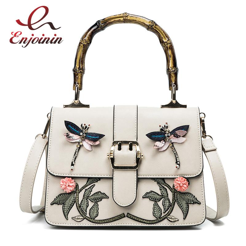 New fashion embroidery flower animal pattern bamboo handle pu leather female totes shoulder bag handbag crossbody messenger bag