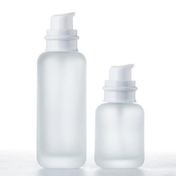 50 110 150 ml givré bouteille en verre Pot de crème avec blanc pompe couvercle pour sérum / lotion / émulsion / Fondation Cosmétique Emballage