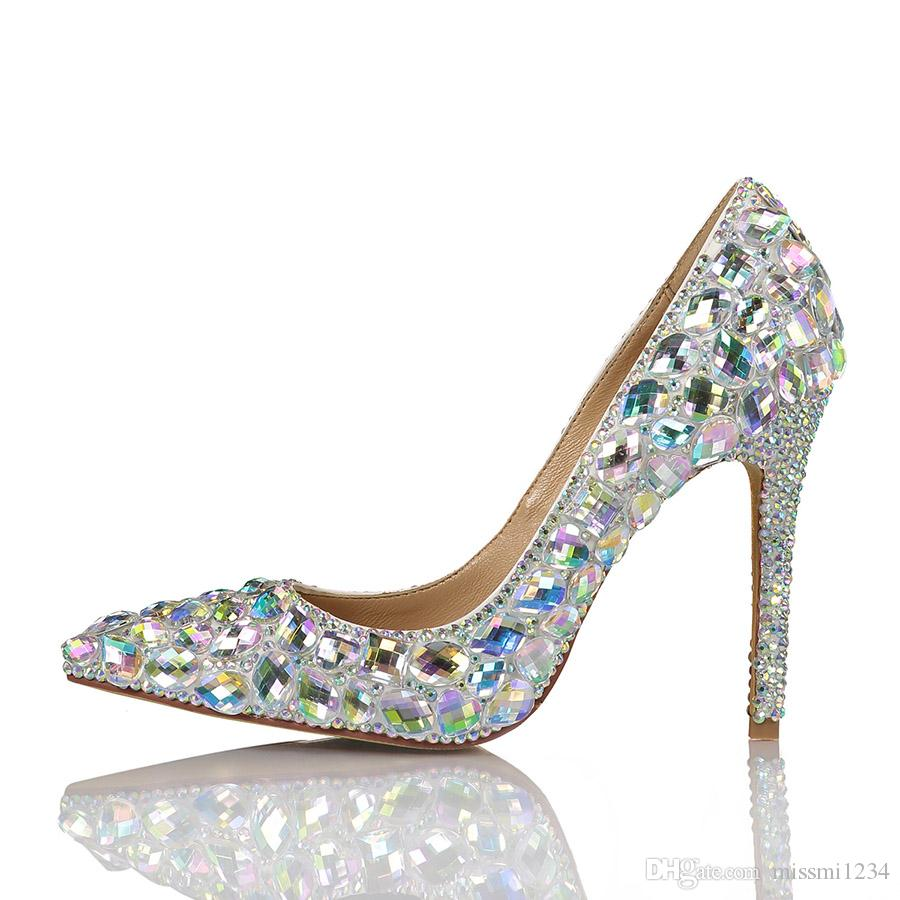 a2f7cb89506a62 10CM Women Pointed Toe High Heels Dress Shoes Brilliant Rhinestone Party  Fashion Girls Sexy Party Shoes Buckle Platform Pumps Wedding Shoes Summer  Shoes ...