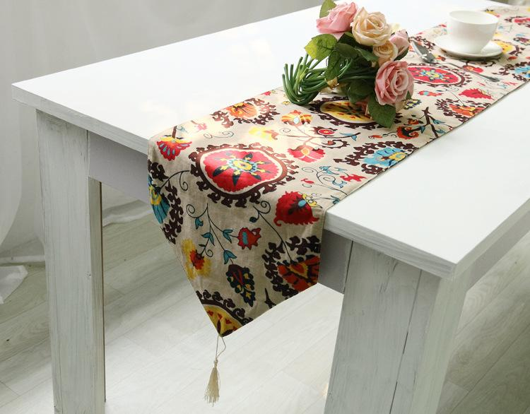 Modern Table Runner With Tassel Wedding Hotel Banquet Party Home Luxury  Print Cotton Linen Dining Room Table Runner Decoration Gray Table Runner  Green Table ...