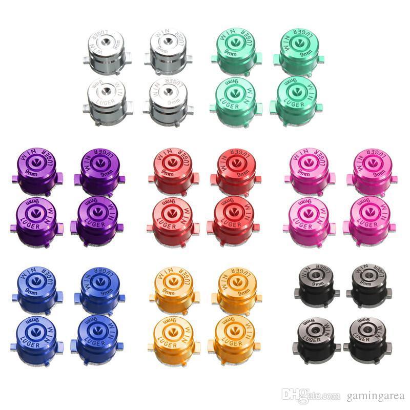 Metal Aluminio Luger Bullets Botones de botón Bullet de 9 mm Mod. Para Playstation 4 PS4 Controlador PS3 Pieza de reparación DHL FEDEX EMS ENVÍO GRATIS