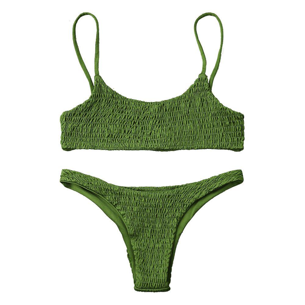 2018 Fashion Women Swimwear Bikini Push Up Bikini Top and Bottoms Sexy Low Waisted Spaghetti Straps Swimsuit Women Bathing Suit