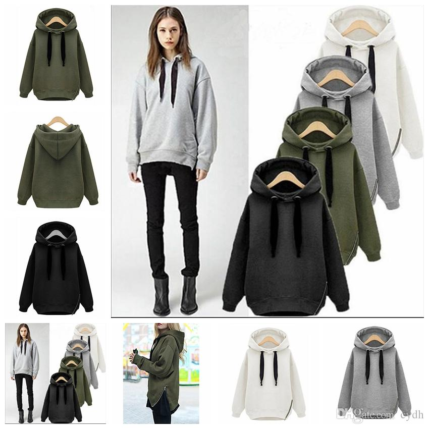 2019 European autumn winter solid color pullover long-sleeved hooded zipper sweater, white, gray, green, black, support mixed batch