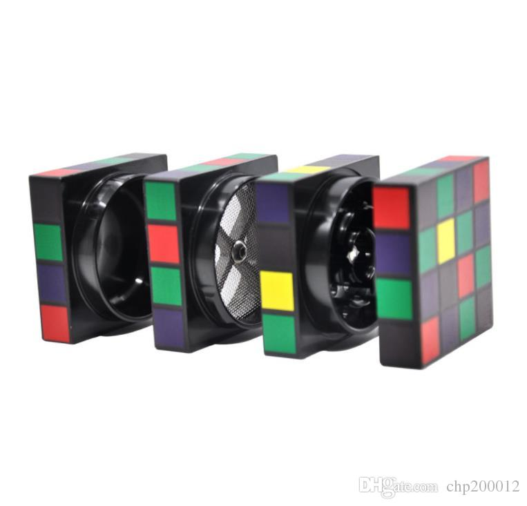O novo cubo mágico, fábrica de cigarros, personalidade criativa, cortador de fumaça de liga de alumínio, diâmetro 60mm quatro camadas, rotação do cubo mágico suave