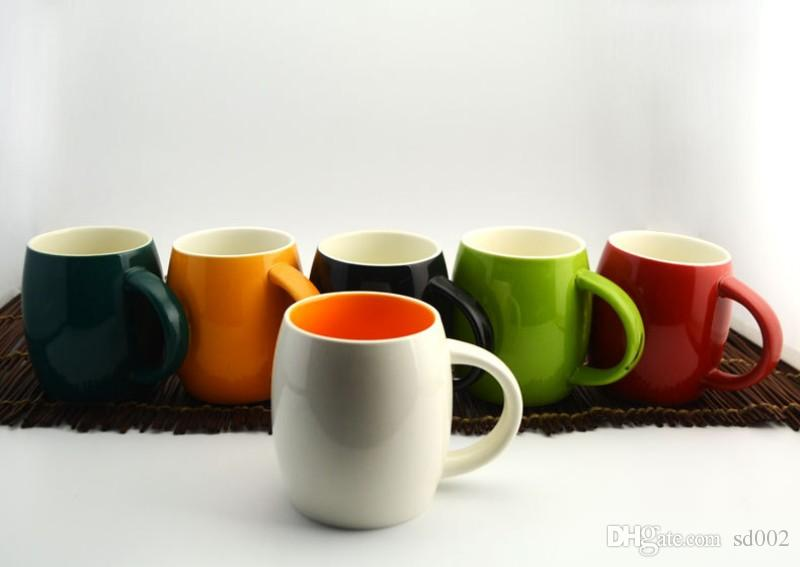 Simple Egg Shape Mugs Single Layer Ceramics Coffee Cup With Handle High Temperature Resistant Tumbler New Arrival 7gd B