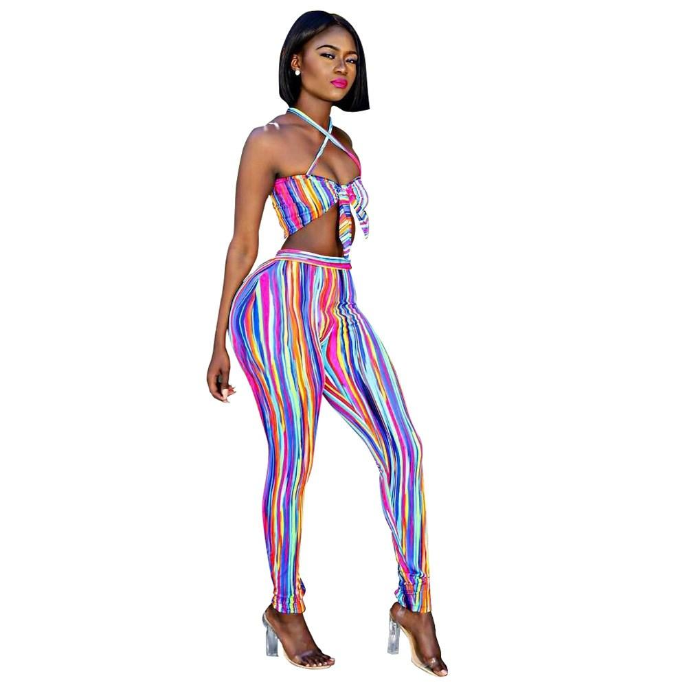 2019 Top And Pants Women Halter Crop Top And Pant Set Party Two Piece  Outfits Clubwear Matching Sets Colorful Striped Two Piece Set From Junxcj 40836fbb26