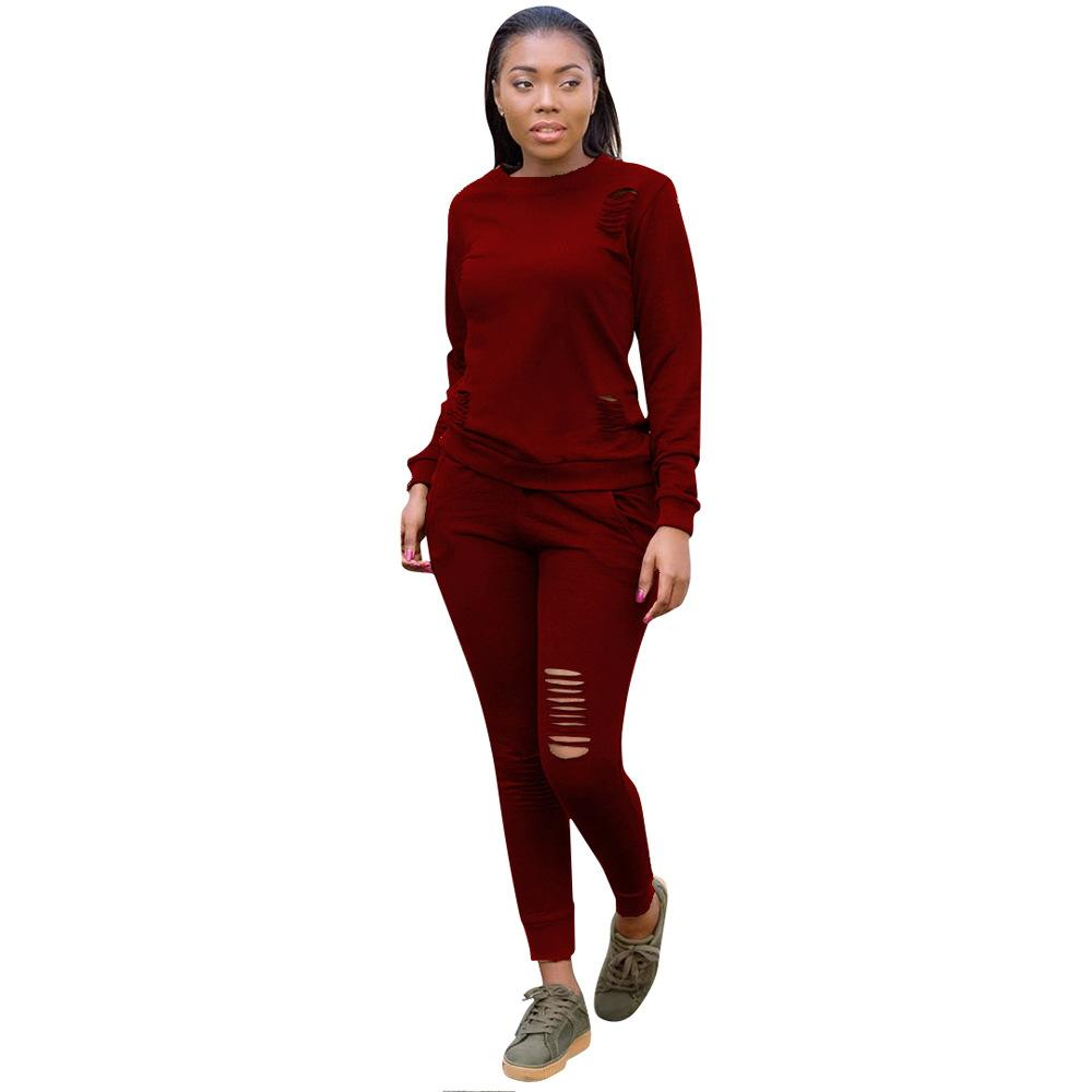b72ea449ab Wholesale Trend New Hook Flowers Hollowing Out Leisure Suit Pure Color  Comfortable Women Sweat Suits Personality Women 2 Piece Outfit