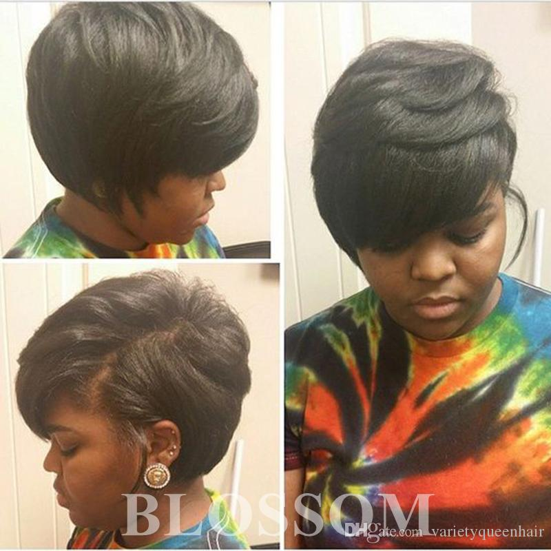 Pixie Cut Female African American Human Hair Women S Wigs Short Bob