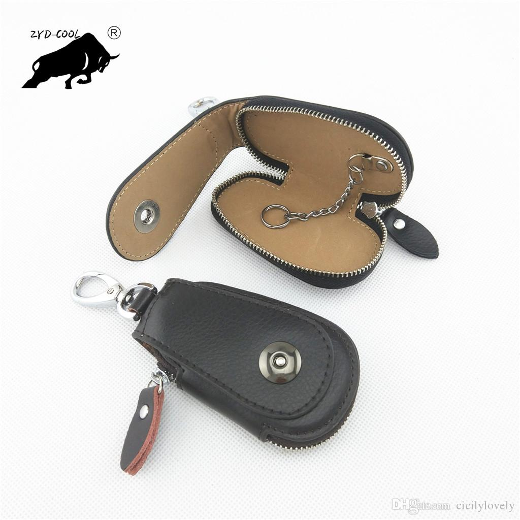 Genuine Leather Car Key Wallets Vintage Key Holder Credit Card Housekeeper Keys Organizer Keychain Case Bag Pouch