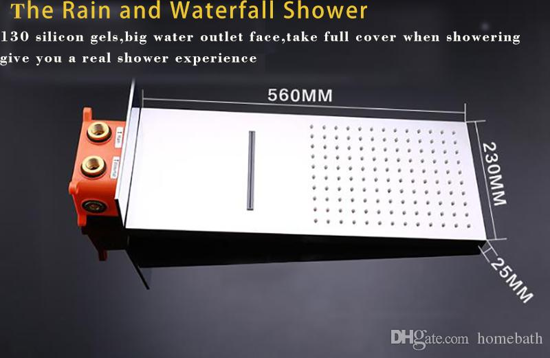 Luxury Bathroom Faucet Waterfall Shower Big Rain Wall Mounted Tub Shower Heads Set Thermostatic Faucets Massage Spa Body Jets