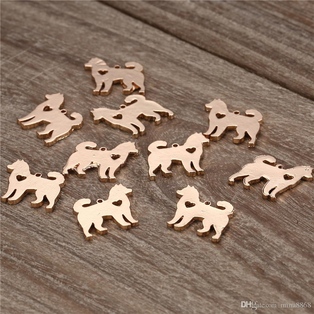 17*18mm Animal Dog Charm Lovey silver/gold color Pet Dog Charms Pendant For Necklace Bracelet DIY Jewlery Findings
