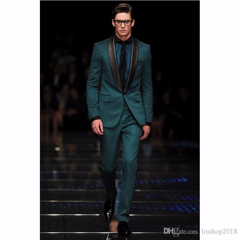 Custom Made Groomsmen Şal Siyah Yaka Damat Smokin Koyu Yeşil Erkekler Düğün İyi Adam Suits Ceket + Pantolon
