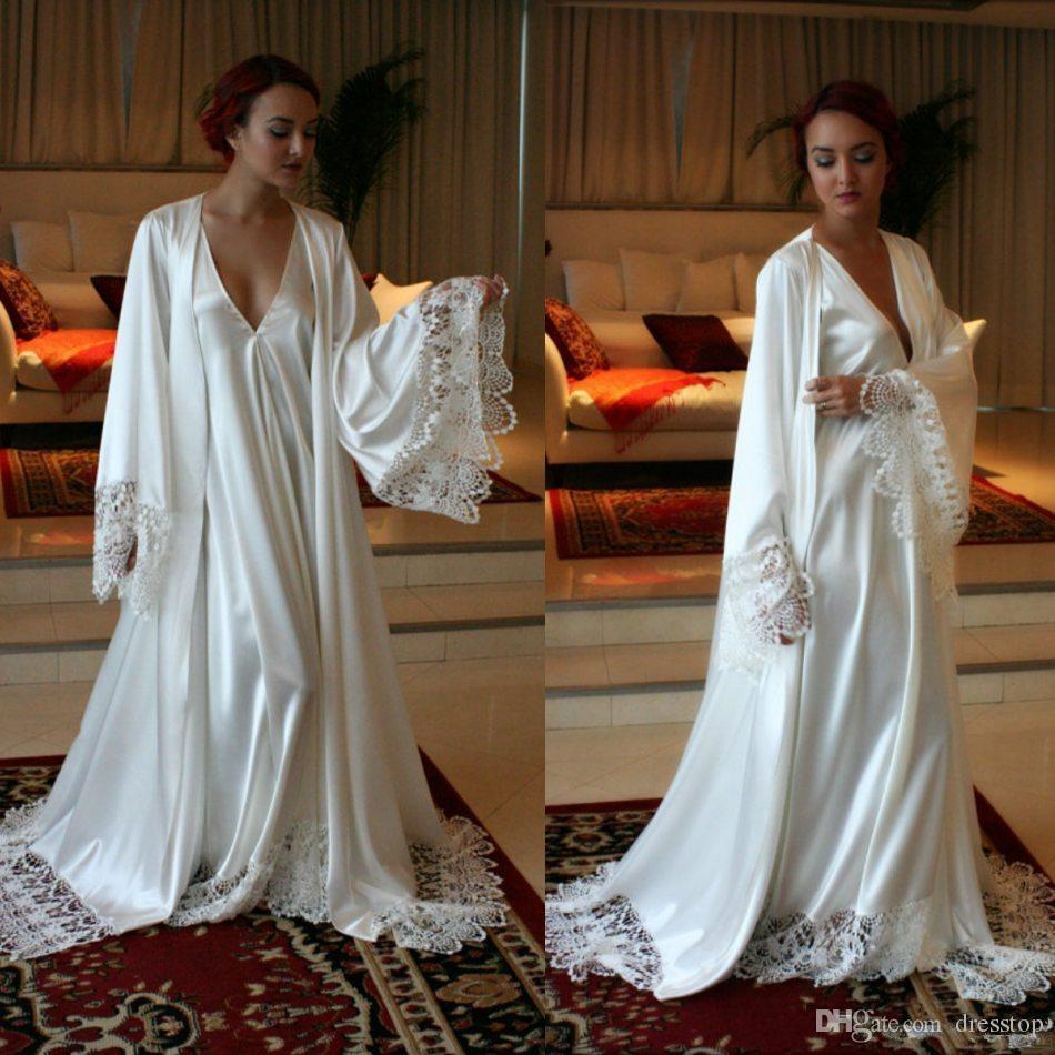 online retailer 961cd 0f703 Camicie da sera lunghe eleganti in seta e damigella d onore Camicie da  sposa su misura accappatoio per le donne