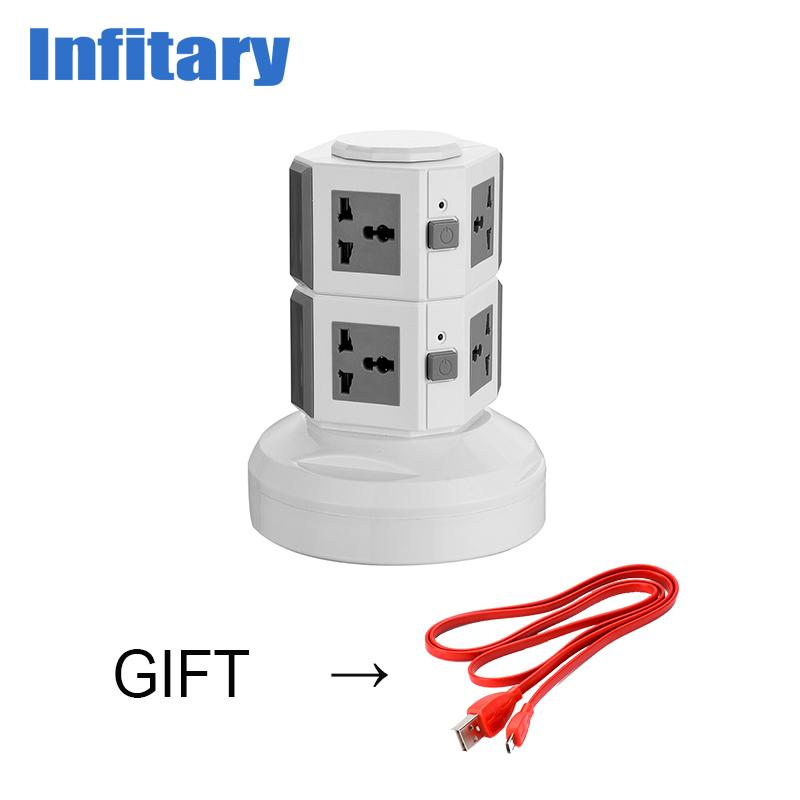 Infitary 8 Eu Plug Outlets 4 Usb Ports Wall Socket Power Strip 250v ...