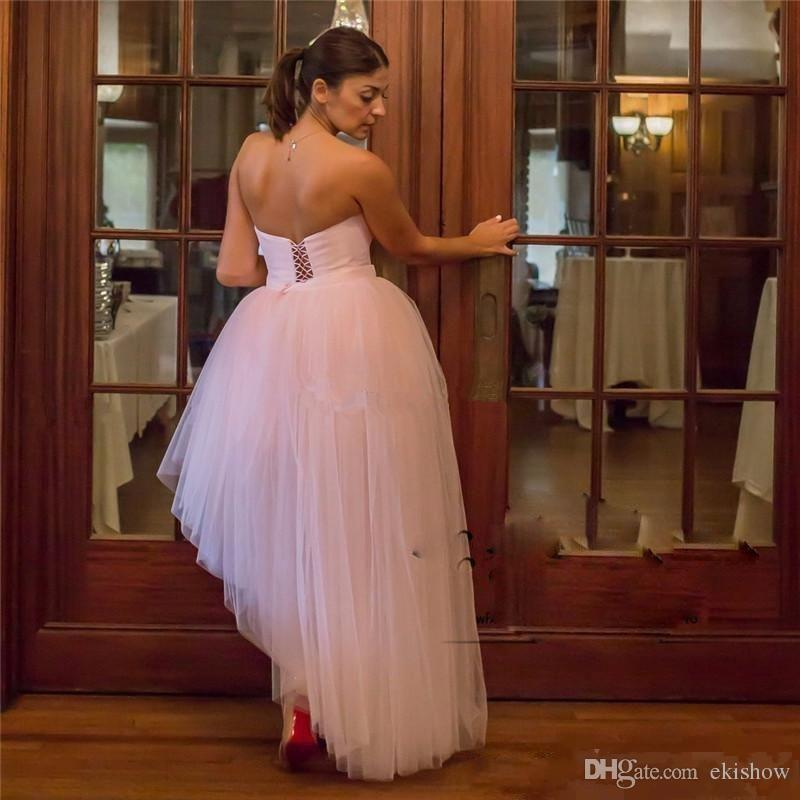 2018 Blush Pink Sexy Strapless High Low Prom Dresses Backless Lace up corset Puffy Train plus size Formal Evening Party Gowns Dress