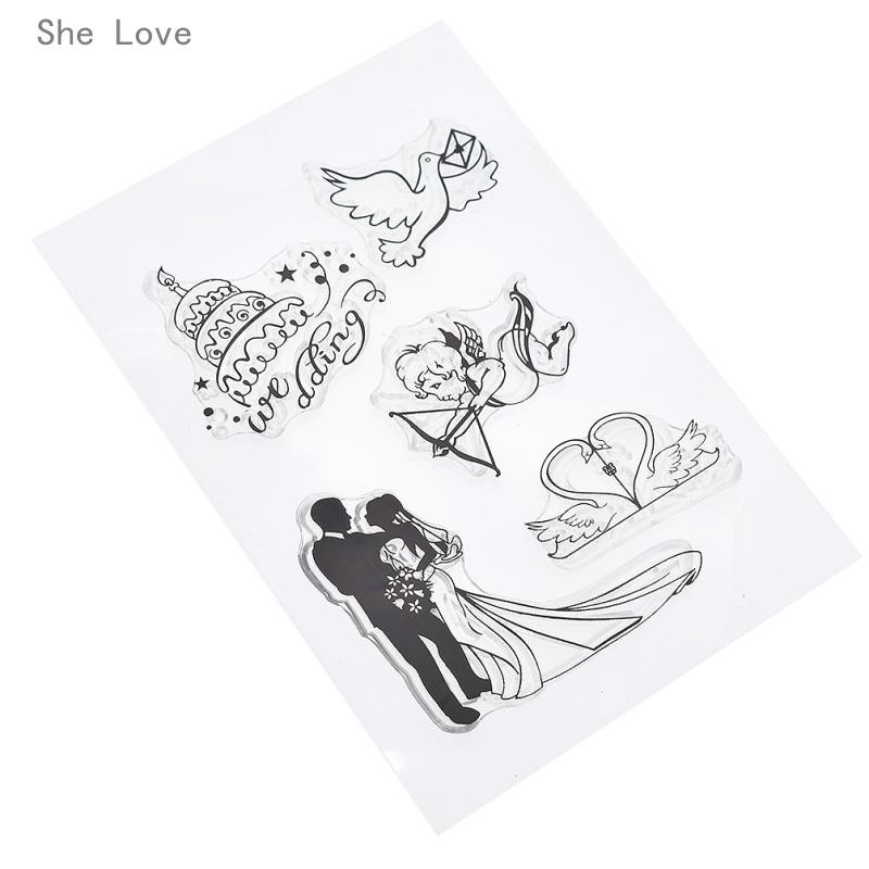 Wedding Rubber Stamping.Crapbooking Stamping Stamps She Love Wedding Cupid Pigeon Swan Silicone Clear Stamp Transparent Rubber For Scrapbooking Diy Album Cards M