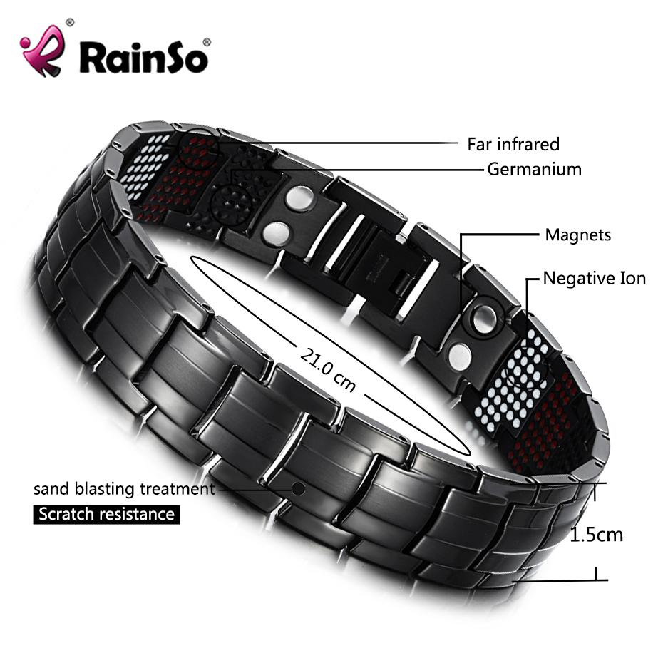 RainSo Male Bracelet Health Germanium Bracelet Charm Black Titanium Magnetic Therapy Bangles Unique Wristband Men Jewelry 1316