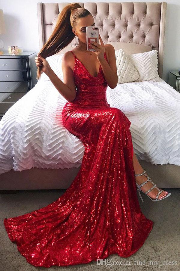 Derin V Boyun Mermaid Yeni Kırmızı Abiye Ön Bölünmüş Payetli Parti Örgün Balo Abiye Custom Made Backless Spagetti Sapanlar Seksi göz kamaştırıcı