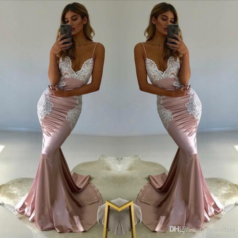 e7e48c3bc6c White Appliques Blush Pink Sexy Mermaid Long Prom Dresses 2018 Evening Dress  Plus Size Bridesmaids Gowns Formal Vestidos De Festa BA8441 Mermaid  Bridesmaid ...