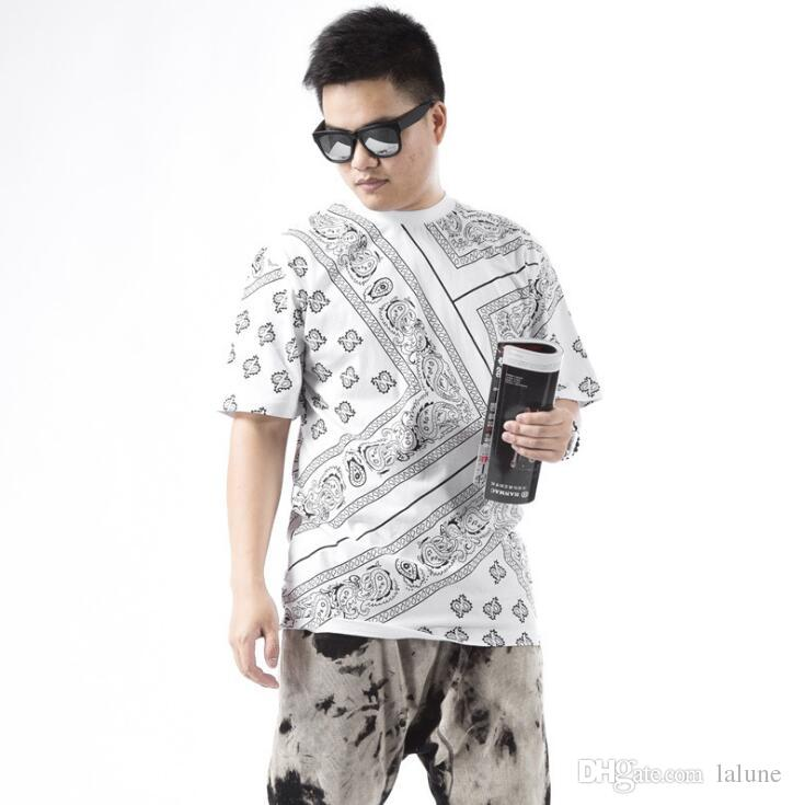Summer Latest T Shirt Men Swag La Rhude Bandana Print HARAJUKU Ktz Flowers Cashew Worldshine Hip Hop Mens Tshirt Plus Size M-5XL
