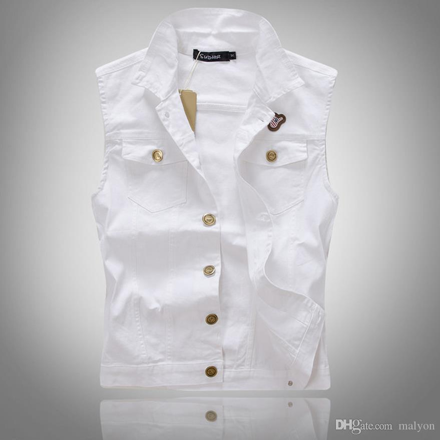 ec81ccc8fc112c 2019 Wholesale Brand New Mens White Denim Vest Casual Slim Sleeveless Denim  Jacket Plus Size Solid Mens Jean Vest Stylish Waistcoats From Malyon