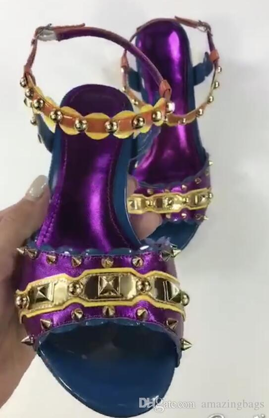 2018 new mix color High Heels Gladiator sandals spike stud Women Sandals crystal party shoes chunky heel diamond pumps vintage sandals