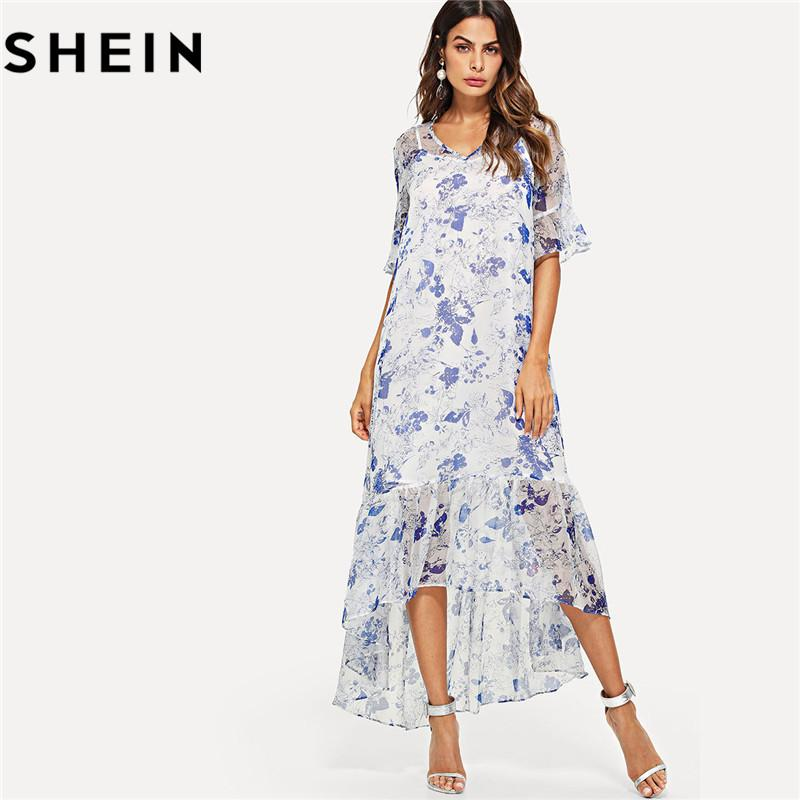 fb23186c5a SHEIN Bohemian Floral Print Half Ruffle Sleeve Women Maxi Dress With Cami  Summer Thin Asymmetrical High Low Flounce Hem Dresses Green Sundresses  Black Women ...