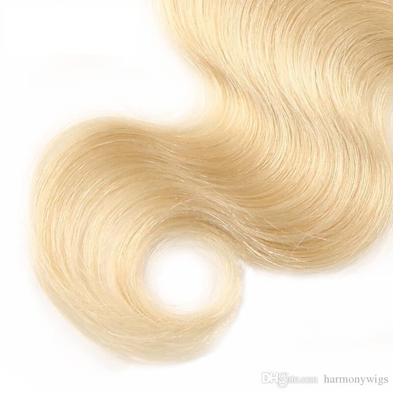 버진 브라질의 헤어 번들 옹 브르 금발 인간의 머리카락은 레이스 클로저로 직조 바디 웨이브 인간의 머리카락 연장