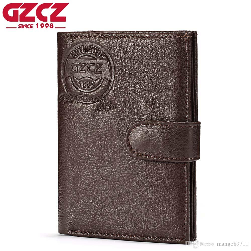 b11a217d33 GZCZ Genuine Leather Wallet Coin Purse Men Wallets Zipper Clamp For Money  Clutch small Walet Male Card Holder