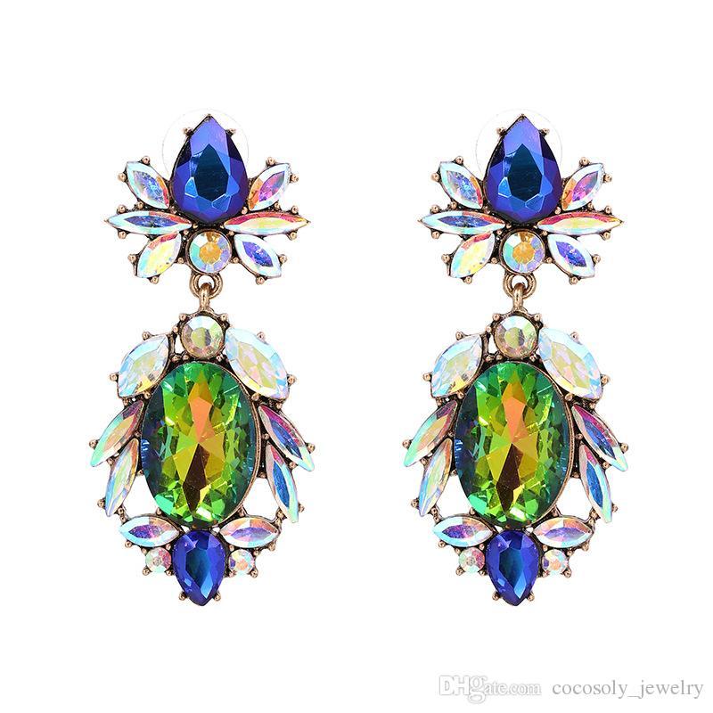 Модные Части Горячий Красочный Цветок Новый Бренд Дизайн Моды Горный Хрусталь Звездный Кулон Кристалл Драгоценный Камень Себе Серьги Ювелирные Изделия