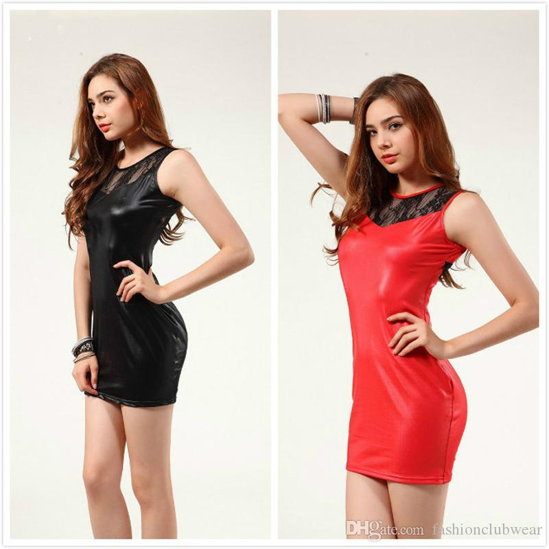Red Black Women Faux Leather Mini Dress Sexy Lace Patchwork Bandage Dress O-neck Sleeveless Tight Dress Night Party Clubwear