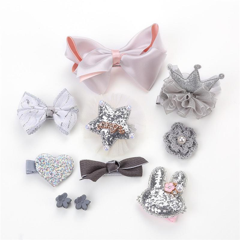 Girls Hair Accessories Sequined Hairpins For Kids Baby Hair Clips Headwear Set Newborn Photography Props Girl Birthday Present