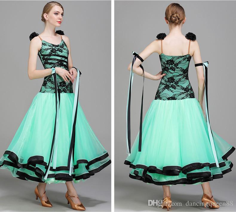 2018 verde baile de salón de baile, vestidos de competencia, baile, vals, vestidos, estándar, bailes de salón, trajes de danza moderna