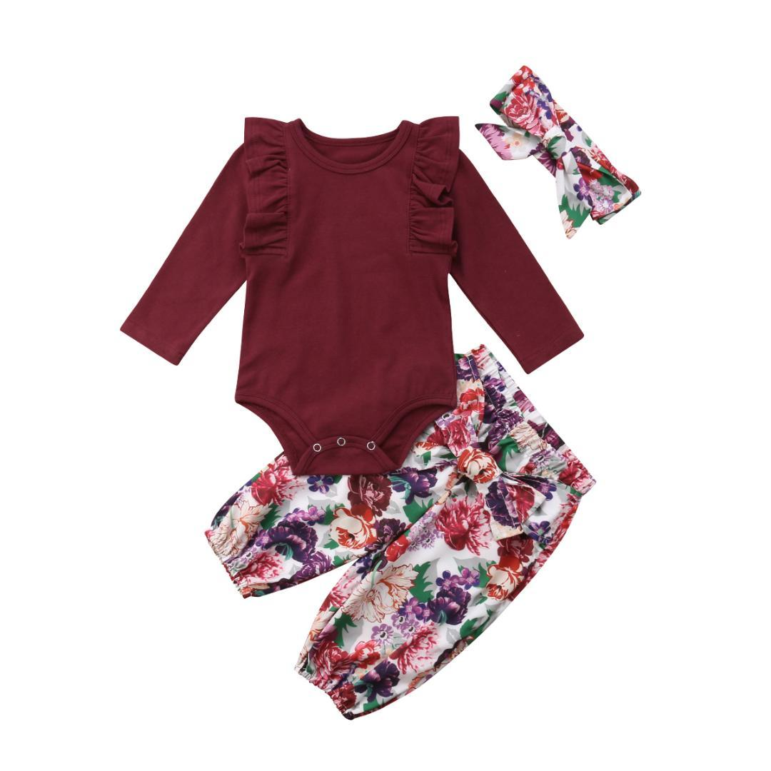 bd892f63cfd4 2019 Set Newborn Baby Girl Ruffles Long Sleeve Cotton Romper Tops+Floral  Bow Pant Trouser Headband Outfits Baby Clothes Set From Bdshop