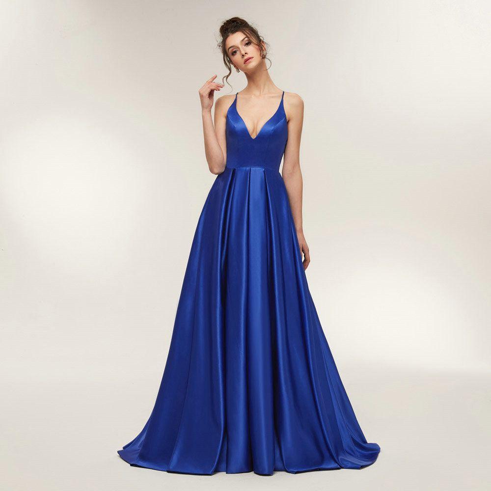 großhandel 2020 royal blue sexy satin abend kleider lang eine linie  abschlussball kleider abend partei kleid abendkleid geöffnetes zurück robe  de